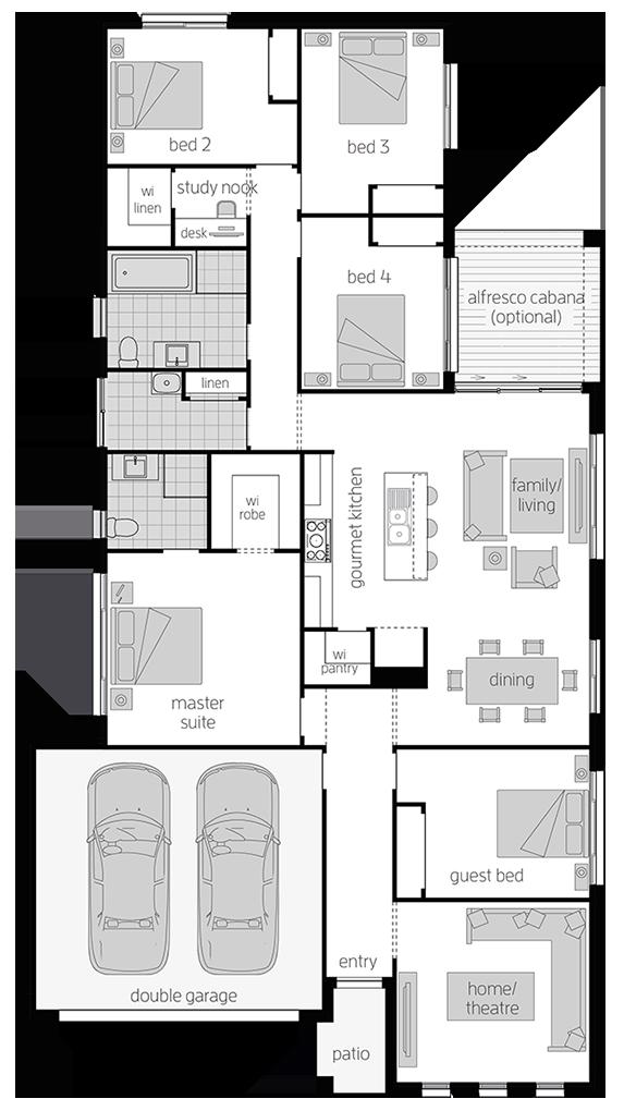 Somersby Floor Plan -  Single Storey Floor Plan - McDonald Jones Homes