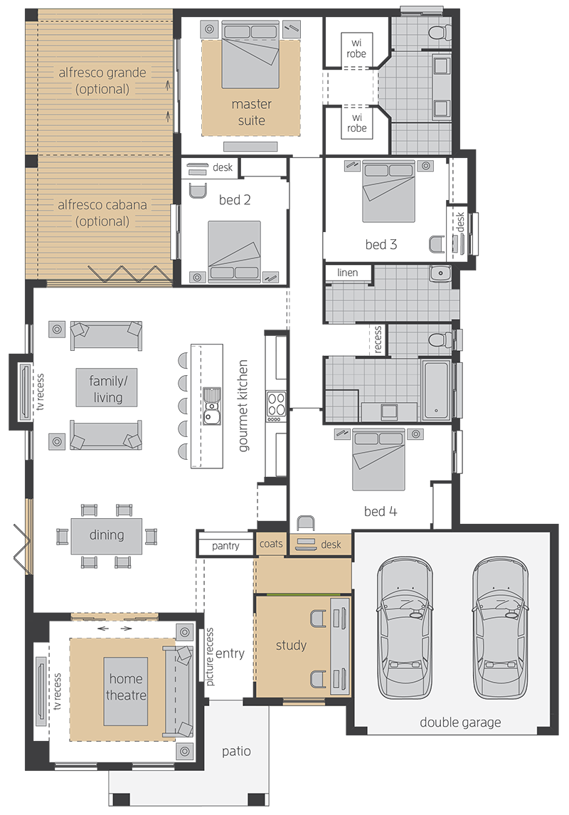 Havana Three upgrade floorplan lhs