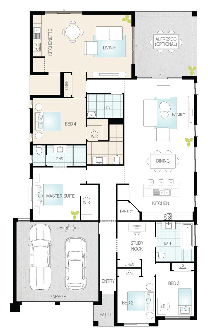 Duo Three- Single Storey Floor Plan- McDonald Jones