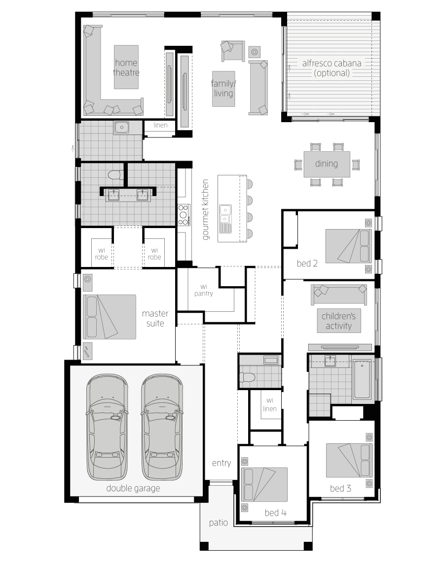 Santa Monica 15 One- Single Storey Floor Plan- McDonald Jones