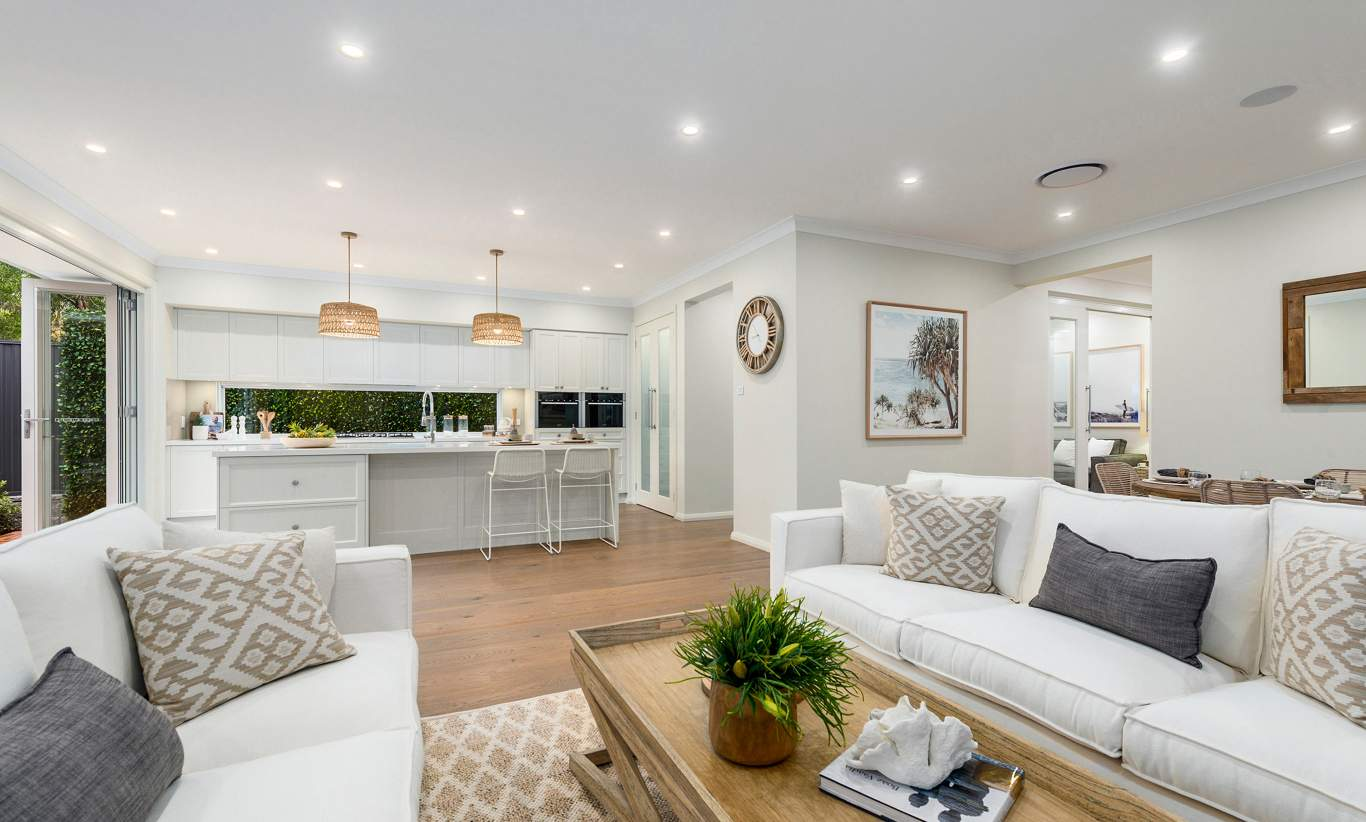 Living Room & Kitchen - Miami Display, Homeworld Leppington - McDonald Jones