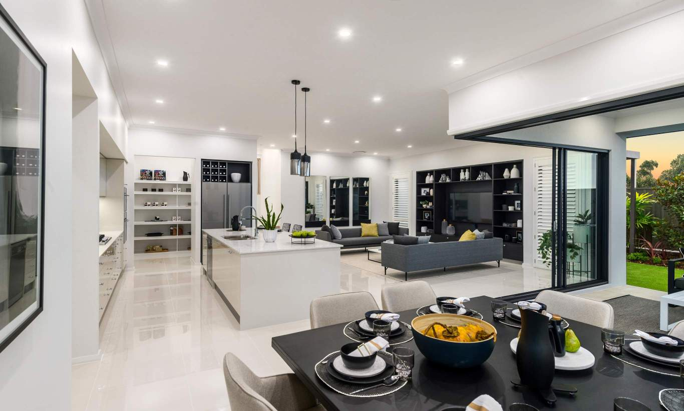 Dining, Kitchen, Living - Seaview Display Home at Billy's Lookout - McDonald Jones