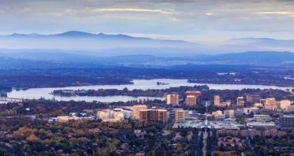 The city of Canberra, Australia in Autumn.