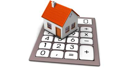 graphic image of house on large pocket calculator