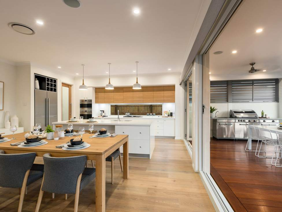 Dining room, Kitchen & Alfresco - Bridgetown Two Storey Home Design - McDonald Jones