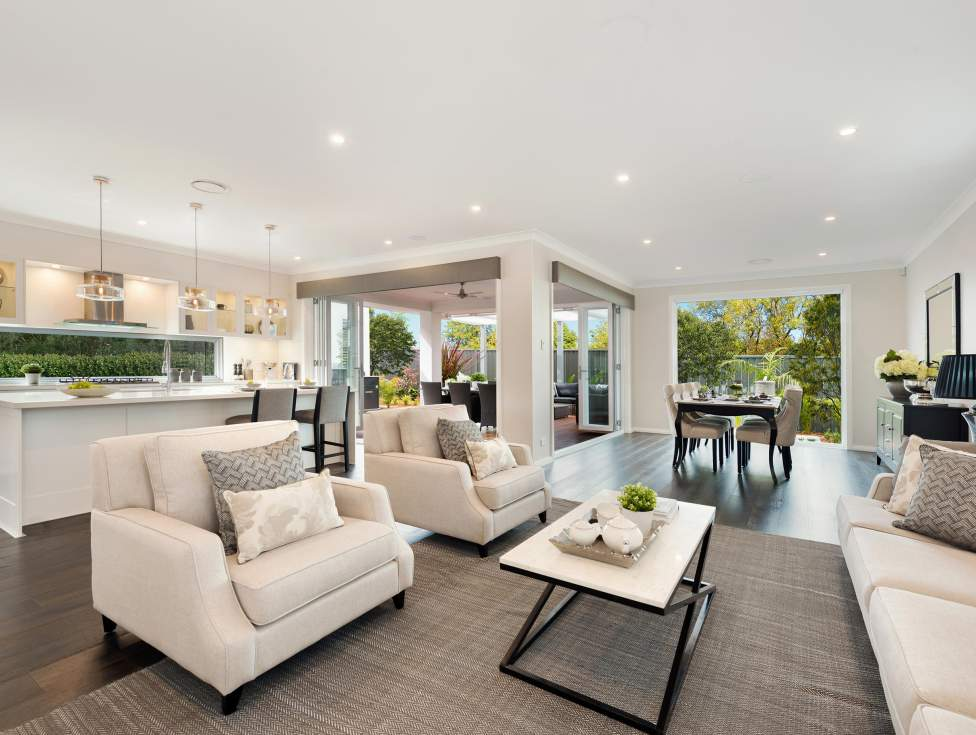 Kitchen, Living room & Alfresco - St Clair Luxury Two Storey Home - McDonald Jones