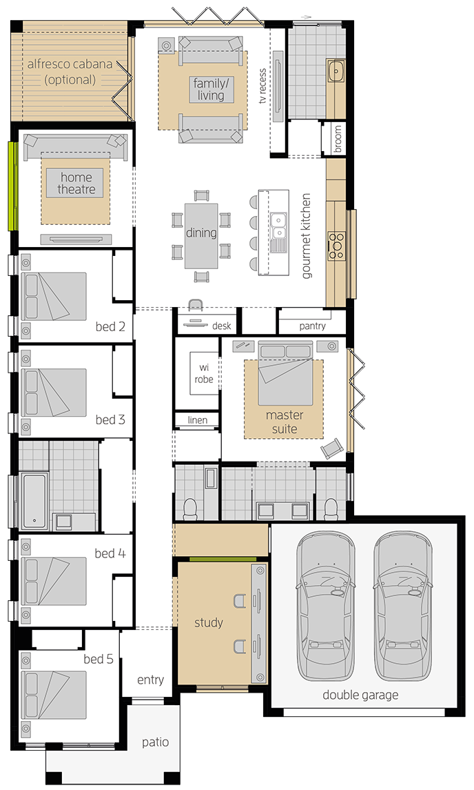 Santa Fe Two upgrade floorplan lhs