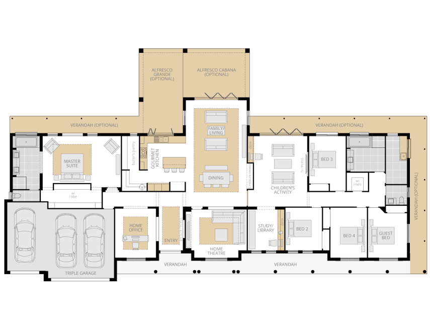Bronte Executive Grande Manor One- Acreage Floor Plan Upgrade- McDonald Jones