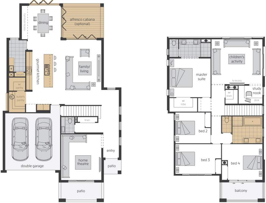 Floor Plan - Castleton 34 Upgrade - Two Storey Home Design -McDonald Jones