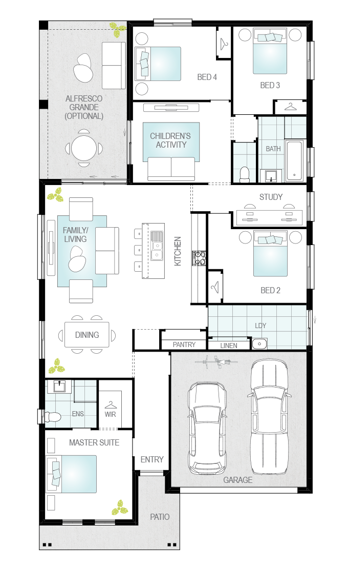 Almeria Three- Single Storey Floor Plan- McDonald Jones