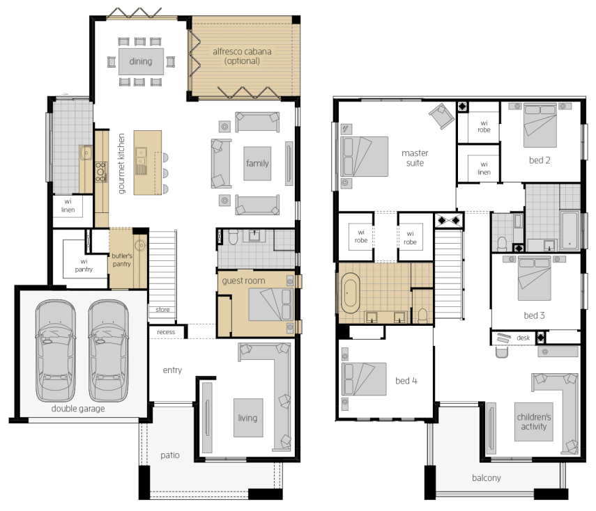 Saxonvale 40 Two- Two Storey Floor Plan Upgrade- McDonald Jones