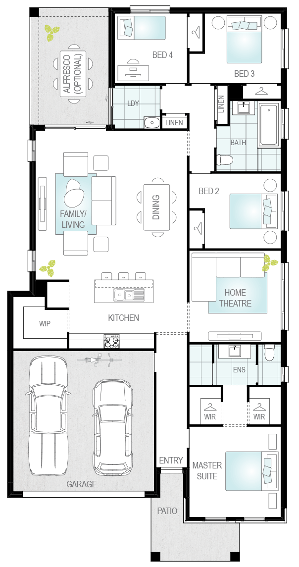 Lucia Three- Single Storey Floor Plan- McDonald Jones