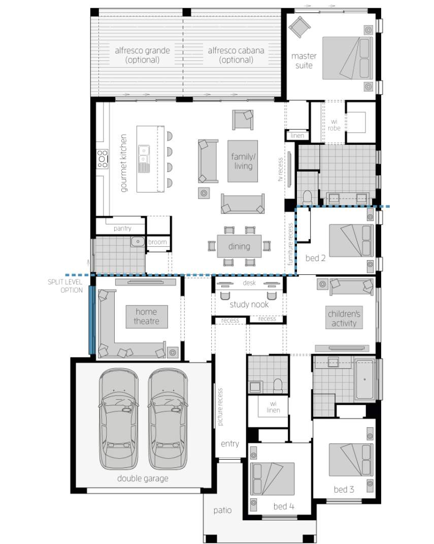 miami modern new house design mcdonald jones homes Job Fair Display Layout note floor plan will differ slightly with application of different facades block widths required differ from area to area are indicative only and subject