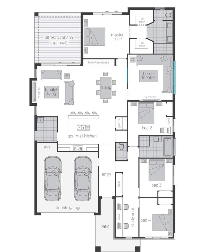 Floor Plan, Santorini Executive Home Design - McDonald Jones