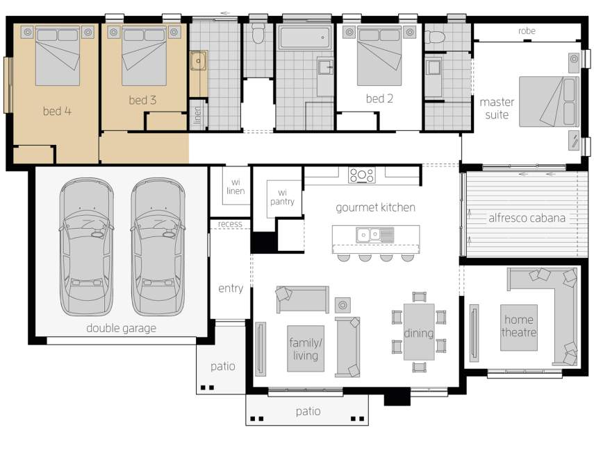 Floor Plan - Cambridge Upgrade - LHS - McDonald Jones