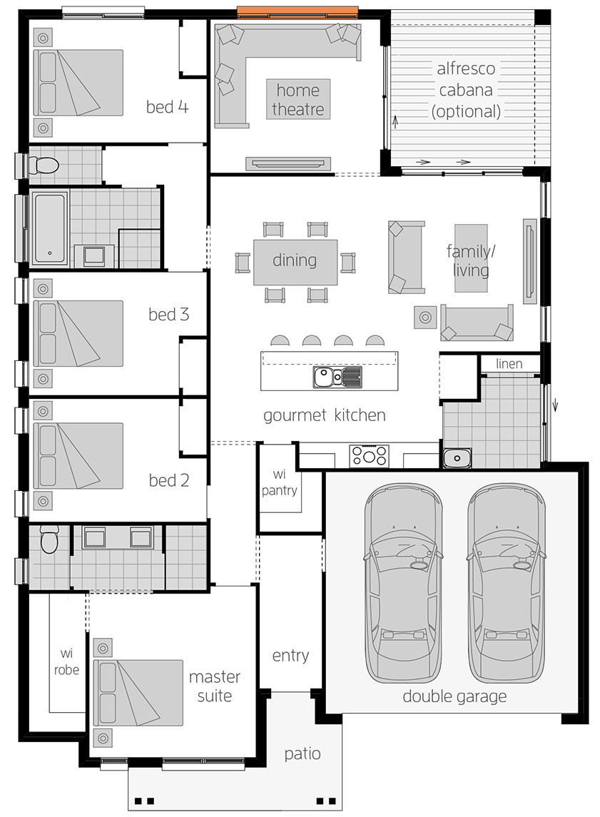 Linden One - Single Storey Floor Plan - McDonald Jones