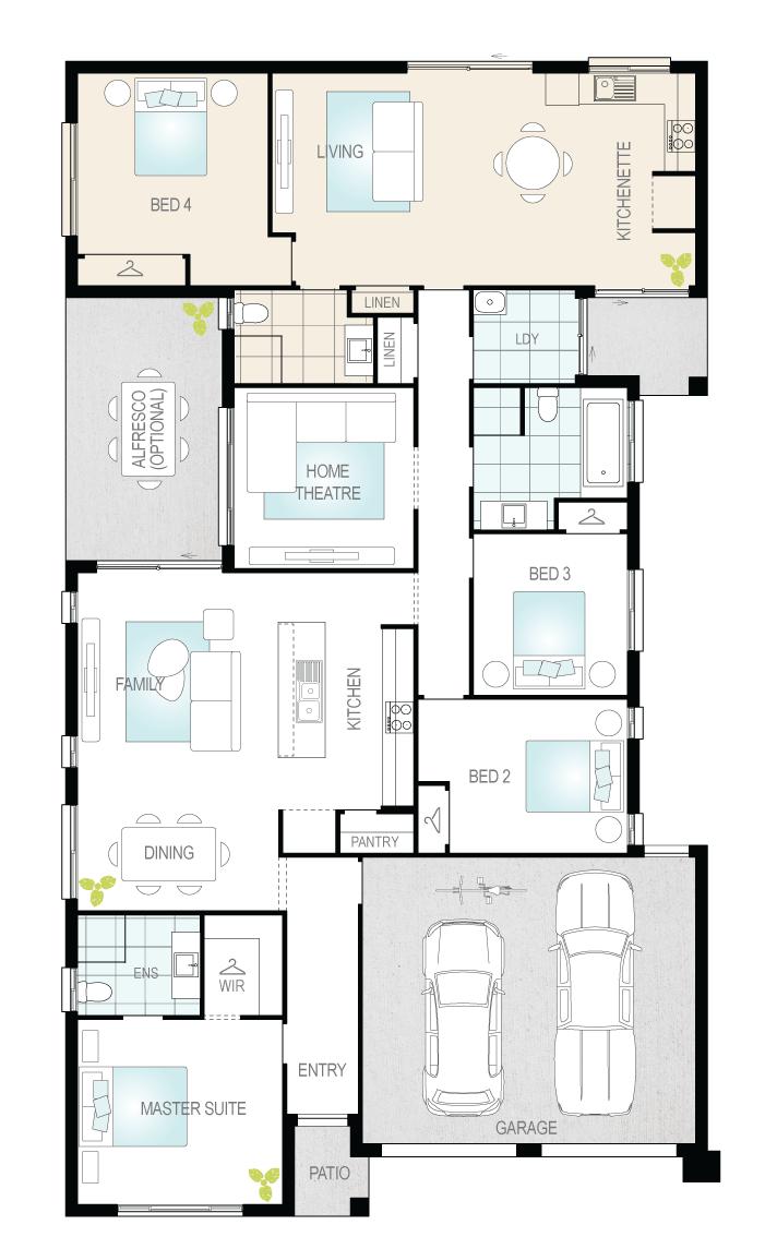Duo Dual Living Single Storey Floor Plan Mcdonald Jones Homes