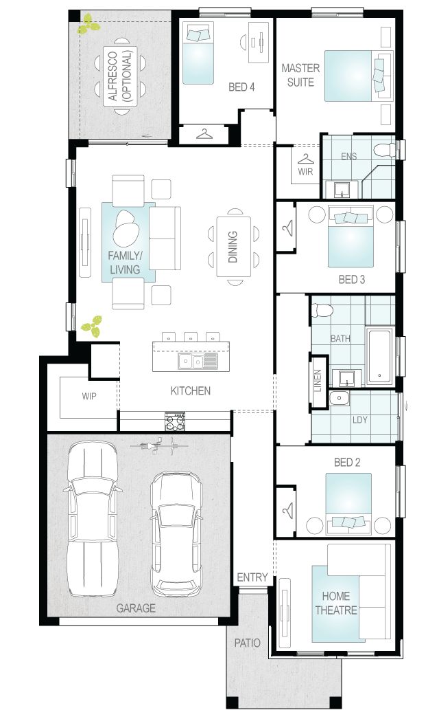 Lucia Two- Single Storey Floor Plan- McDonald Jones