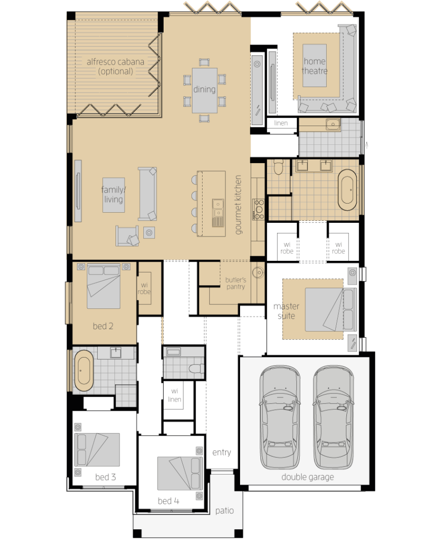 Santa Monica 15 One- Single Storey Floor Plan Upgrade- McDonald Jones