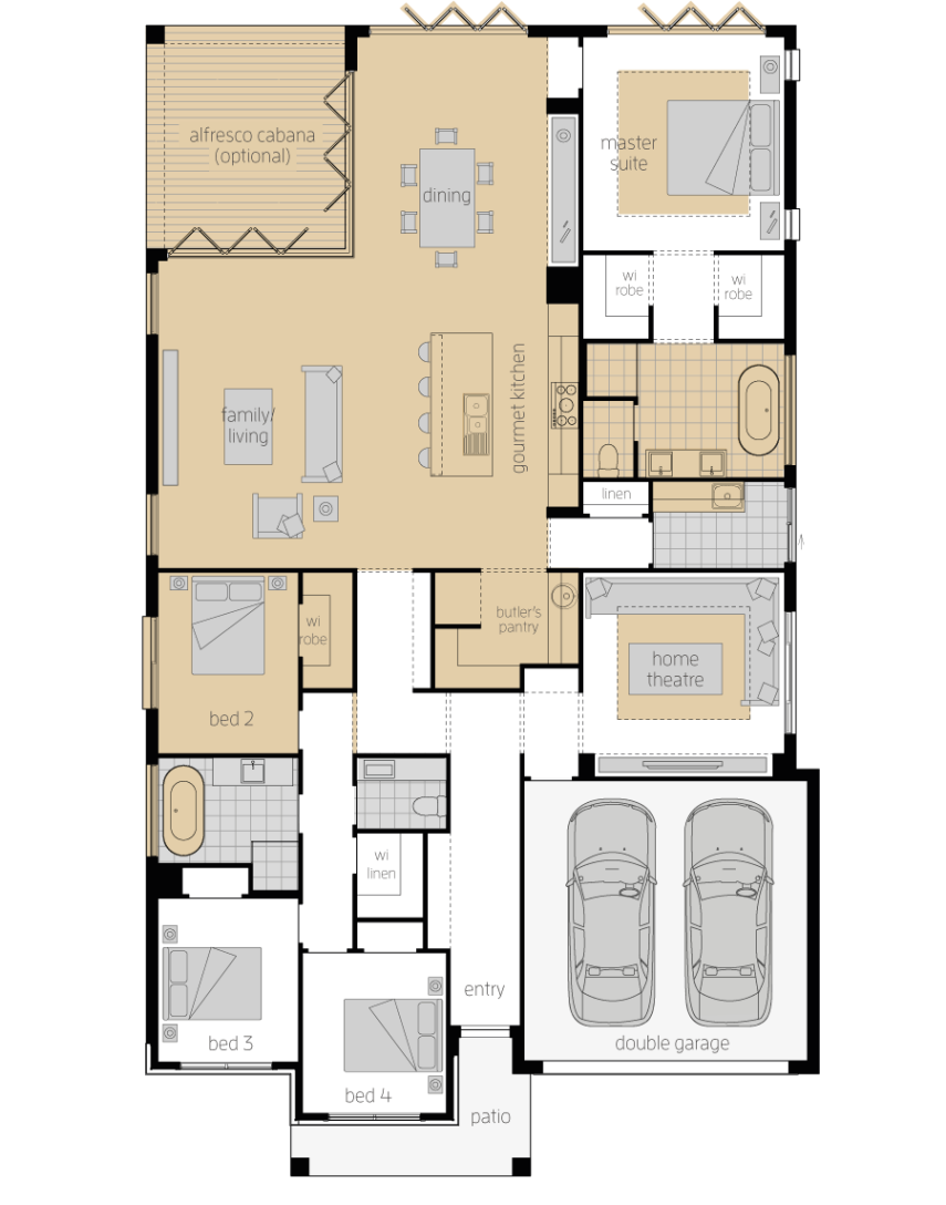 Santa Monica 15 Two- Single Storey Floor Plan Upgrade- McDonald Jones
