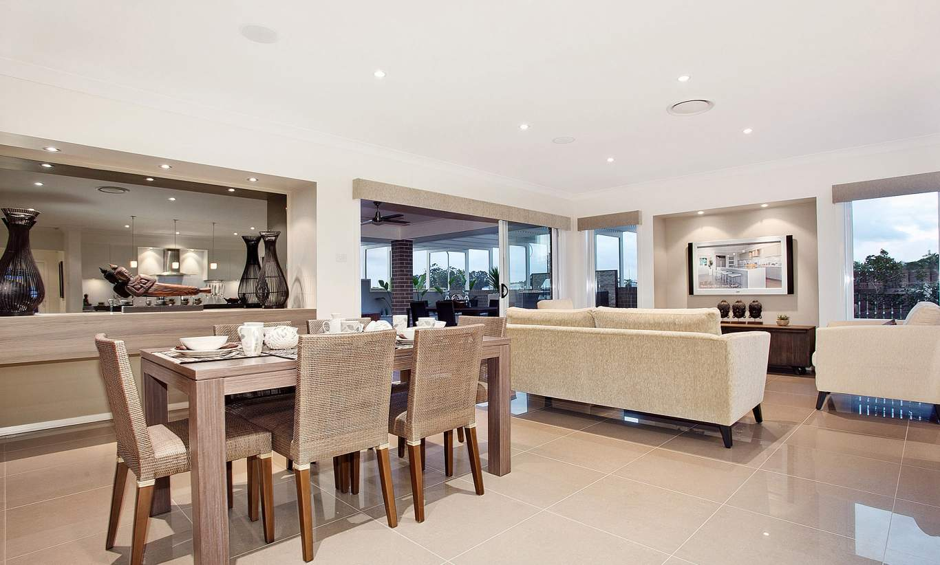 Dining, Living - Santorini Display Home - Woongarah - McDonald Jones