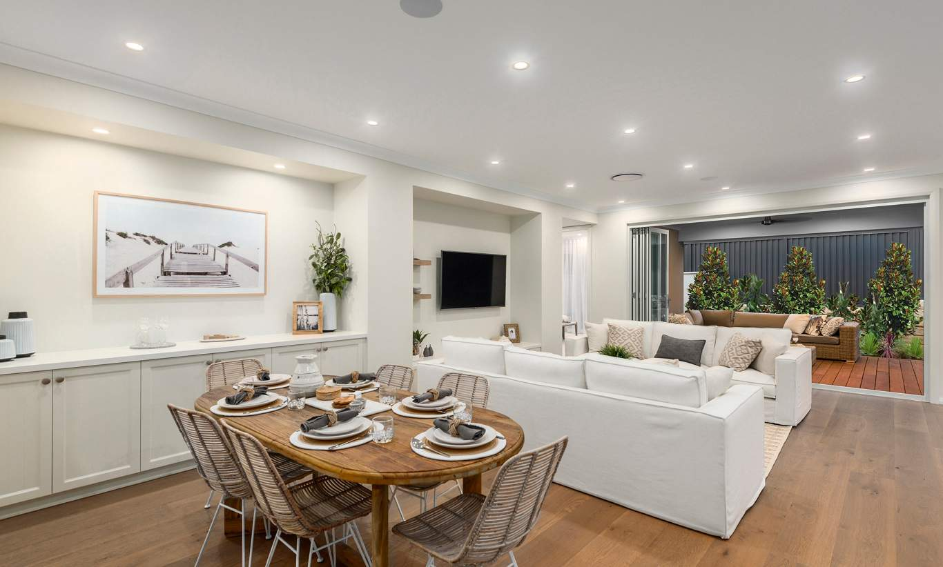 Dining, Living, Kitchen - Miami Display, Homeworld Leppington - McDonald Jones