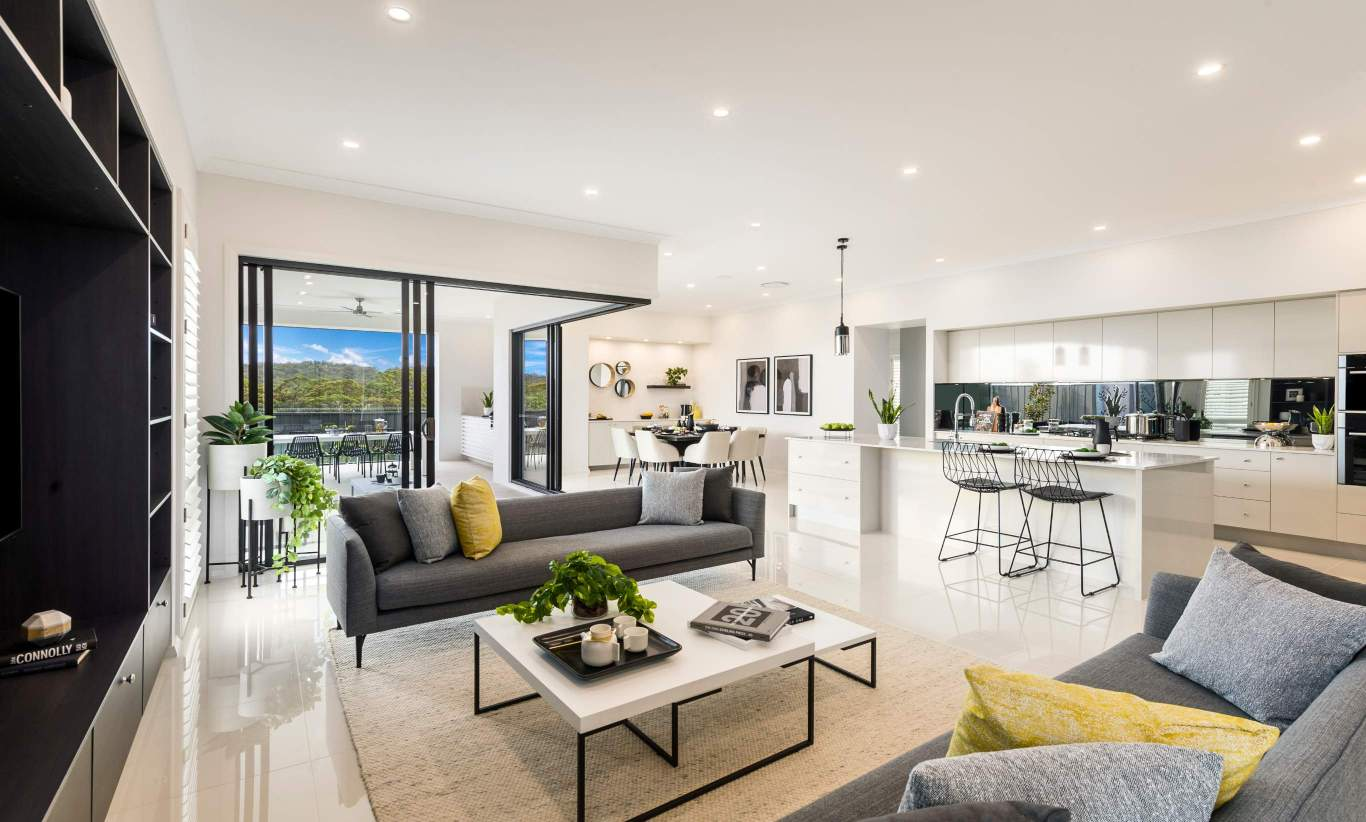 Living Room, Kitchen, Alfresco & Dining - Seaview Display Home at Billy's Lookout - McDonald Jones