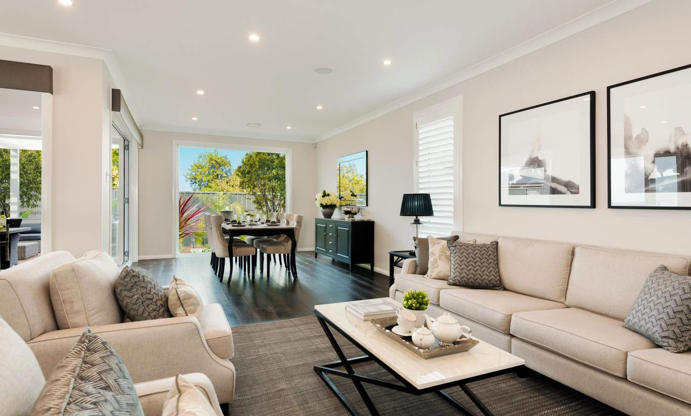 Living room & Dining - St Clair Luxury Two Storey Home - McDonald Jones