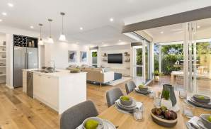 Dining and Kitchen area, Portsea one display home, Wallis Creek, by McDonald Jones