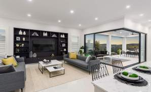 Living Room & Alfresco - Seaview Display Home at Billy's Lookout - McDonald Jones