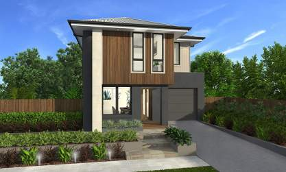 Aspen Facade - Lawson 24 Narrow Block, Two Storey Home - McDonald Jones